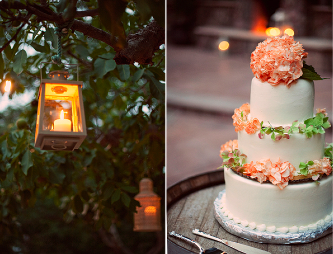 candle lit lantern hanging from tree; 3-tier wedding cake with peach flowers