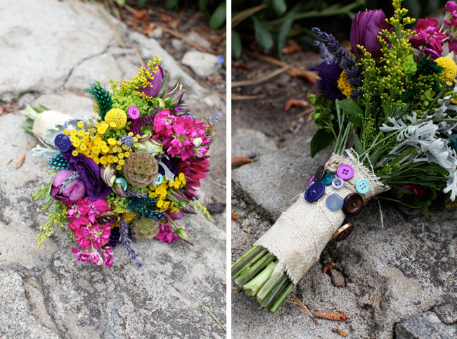assortment of flowers in brides bouquet, adorned with colored buttons