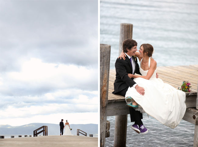brdie and groom on dock with Lake Tahoe in the background