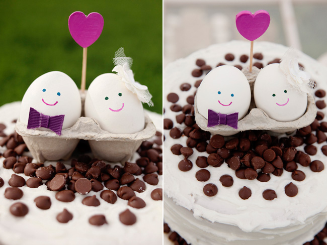 happy eggs in carton on top chocolate chip cake