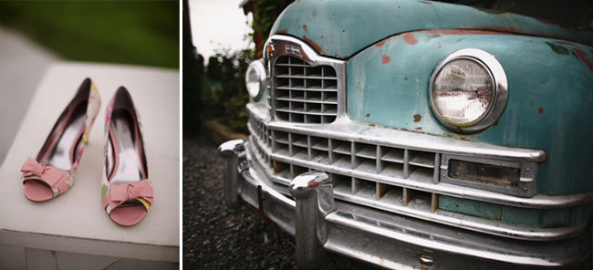 Rose wedding shoes and old truck