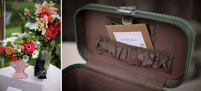 vintage suitcase at Swans Trail Farms wedding