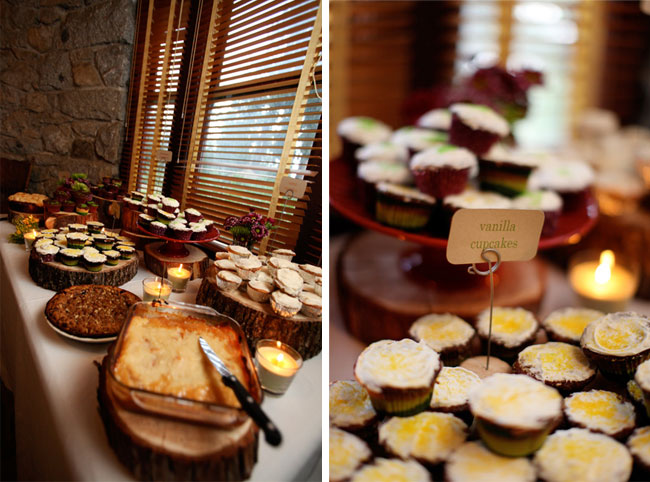 dessert table with home-made cupcakes and pies