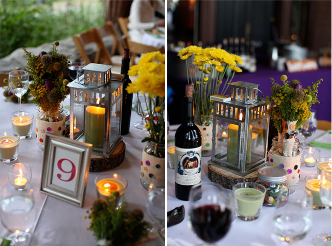 tables adorned with lanterns, candles, wooden coasters, flowers