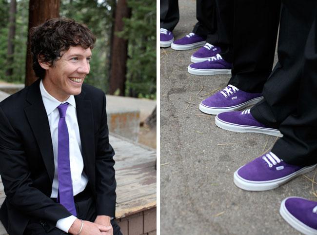 groom sporting his purple tie; groomsmen in their purple Vans shoes