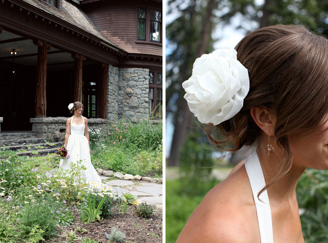 bride at entrance to Pine Lodge; flower hair-piece