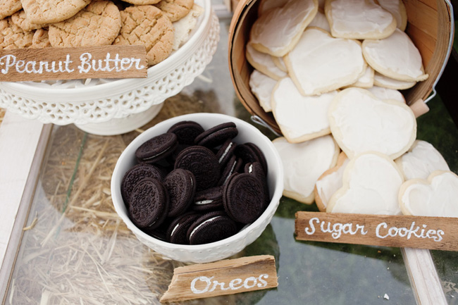 peanut butter, oreo, and sugar cookies in bowls