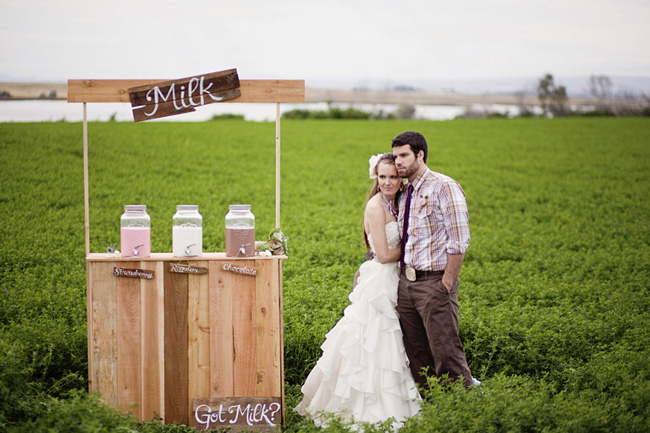 styled wedding milk stand in field