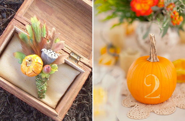 pumpkin boutonniere (left). Real pumpkin carved with a table number (right)