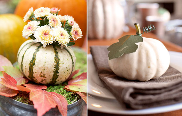 Pumpkin Inspiration: white and green pumpkin vases with flowers