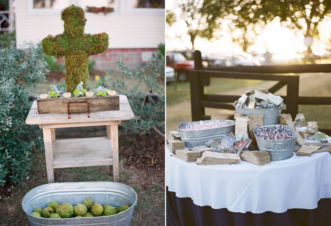 galvanized buckets with candy at wedding reception