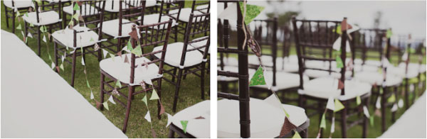 green, ivory, and brown bunting at outdoor wedding