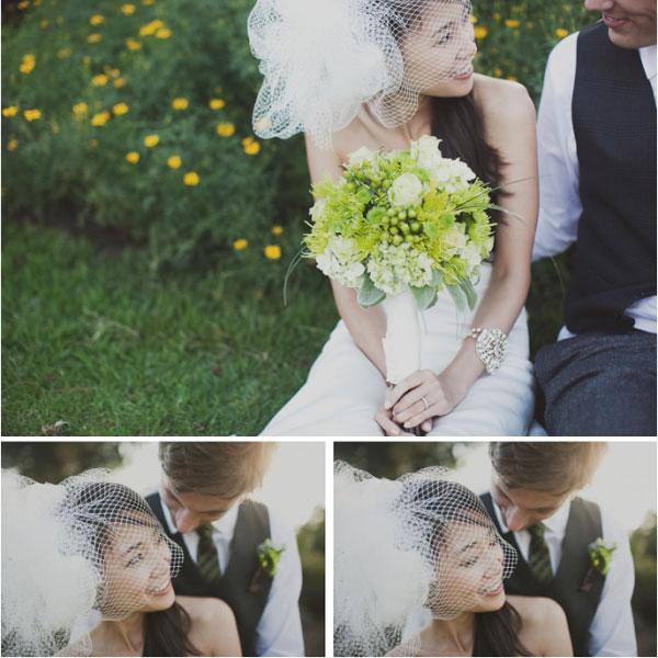 Bride with DIY veil in California wedding
