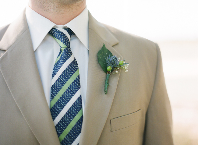 Alabama farm wedding groom with boutonniere