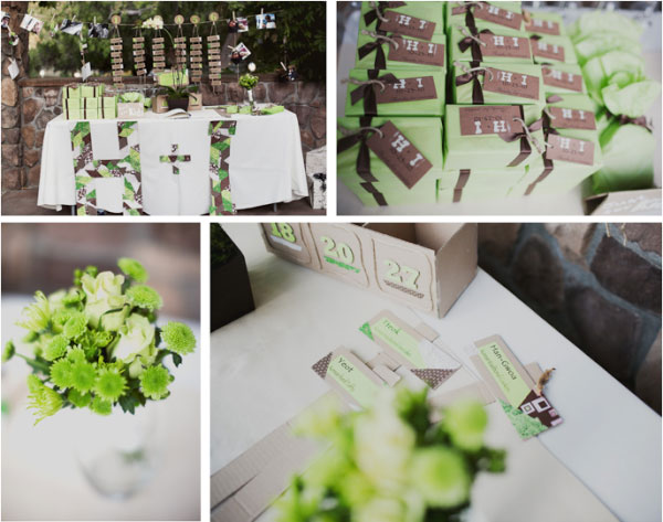 green, brown, and ivory color scheme wedding decor