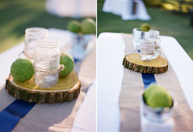 wood round centerpieces with mason jar candles