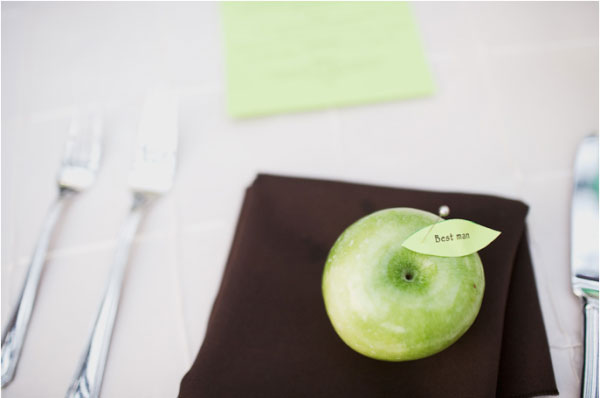 wedding name card with real green apple