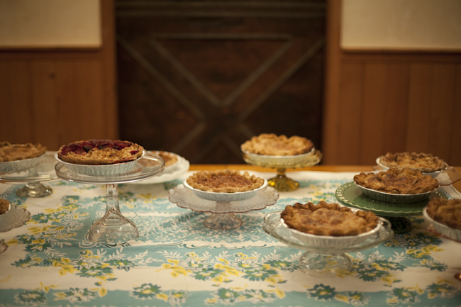 various pies on dessert table