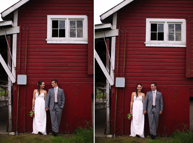 Bride and groom against red barn at Swans Trail Farms
