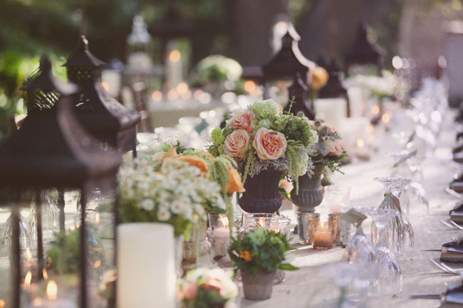 reception tables - lanterns, flower vases, candles
