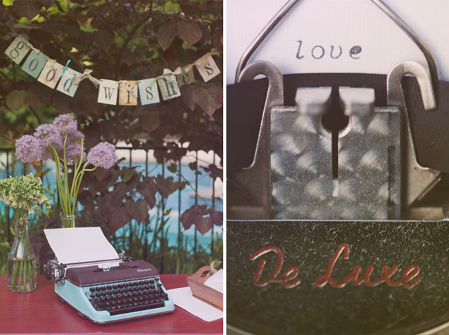 examples of a wedding with homespun decor: fabric banners, vintage typewriter, assorted flower vases