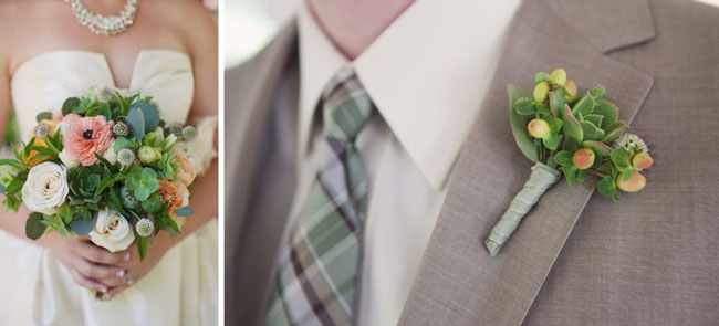bride's bouquet and grooms' matching boutonniere