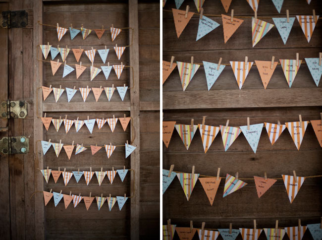 wedding pennants as guest seating chart