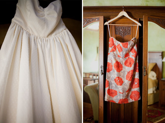 simple dress hanging on armoire