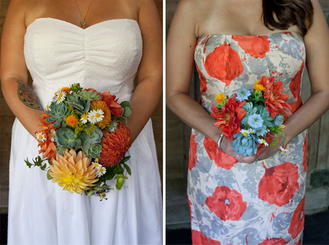 bridemaid holding dahlias, daisies, and succulent bouquet
