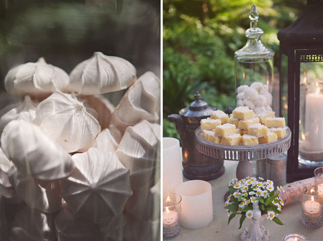 meringues and squares on dessert table