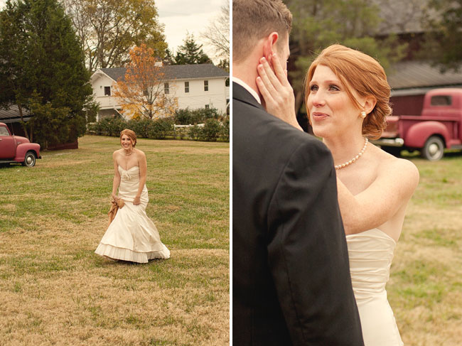 bride walking across lawn at Cedarwood wedding venue for first look