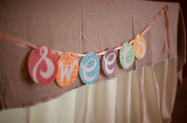 whimsical banner with the word, SWEETS