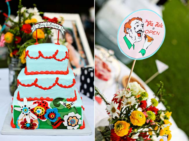 whimsical wedding cake with red frosting; sign for pie station