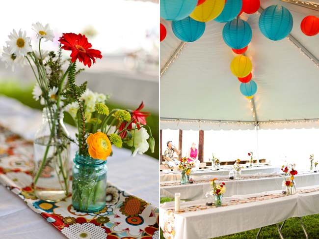 assorted flowers on tables; red and turquoise hanging paper lanterns