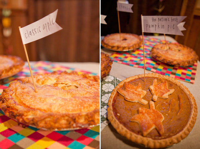 classic apple and pumpkin pies on wedding dessert table