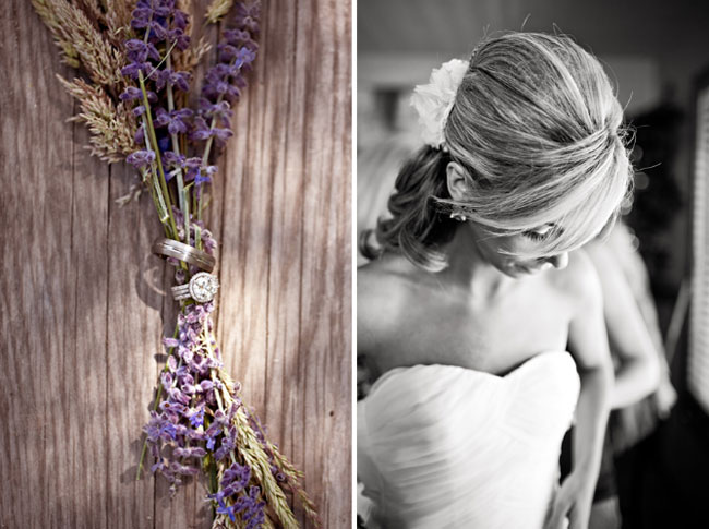 dried lavender with wedding rings in middle