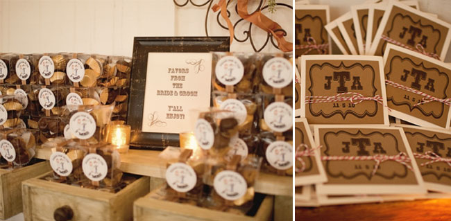 favors of CDs and packages of s'mores