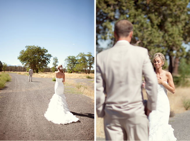 first look for bride and groom on dirt road