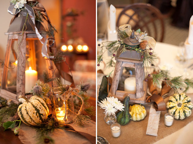 fall and winter wedding decor: gourds, branches, wood lantern, and candles