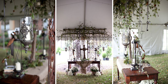 Elegant Fall and Winter wedding ceremony under white tent at Tchefuncta Country Club