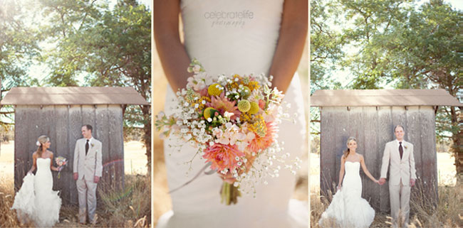 bride holding bouquet with billy balls and baby's breath