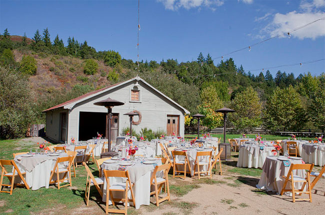 Outdoor wedding reception area at Radonich Ranch