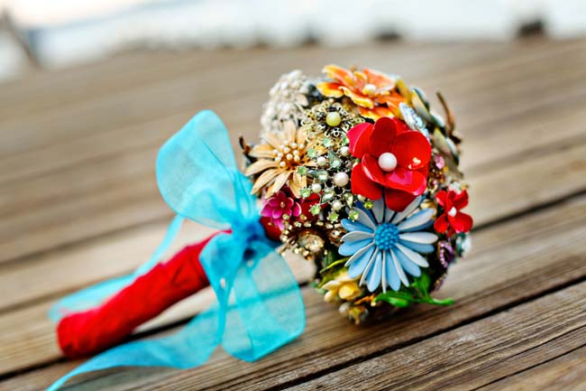 brides bouquet made of brooches