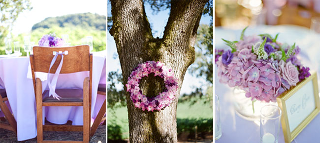 purple wedding wreath hanging on tree; purple centerpiece flowers