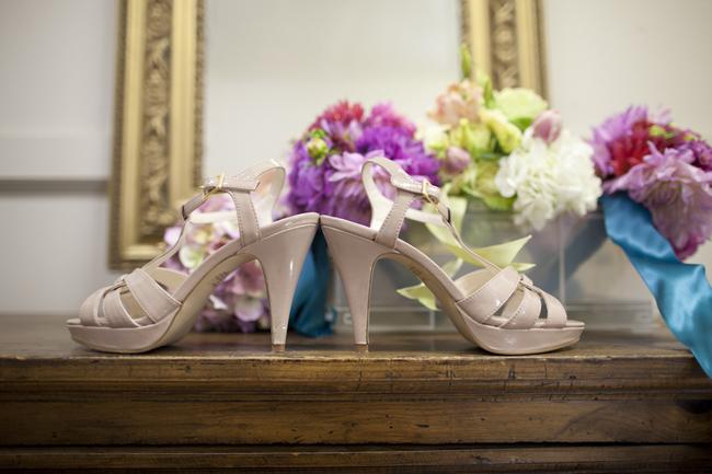 High heel peeptoe cream colored wedding shoes