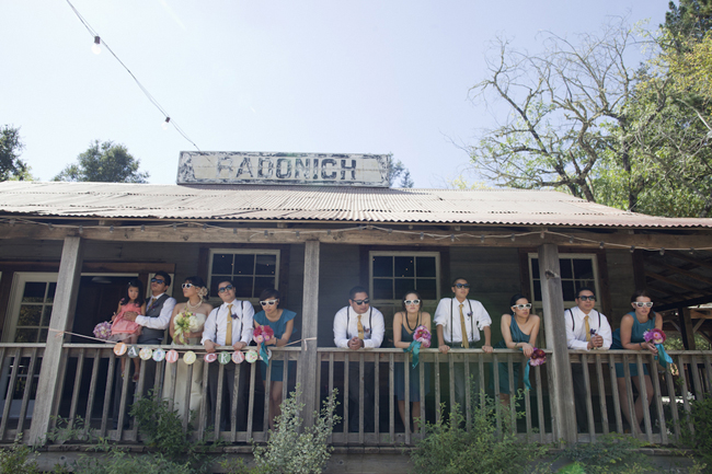 Bridal party on front porch of Radonich Ranch