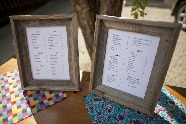 bare wood frames for wedding seating chart
