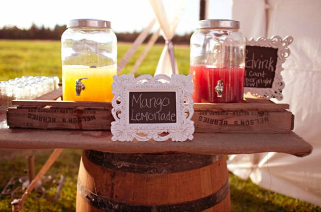 lemonade drink station set on wine barrel