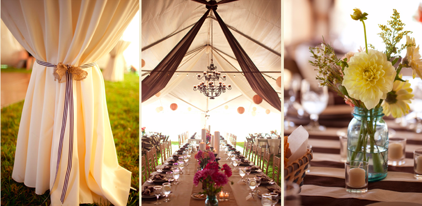 tent wedding reception with chandelier hanging from ceiling and fabric draping
