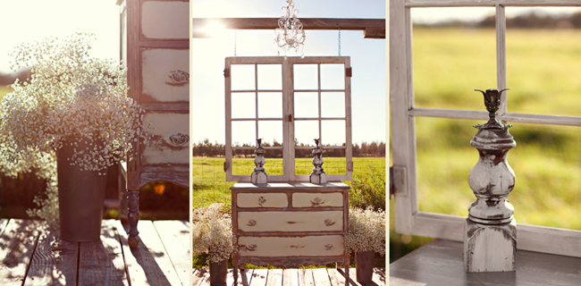 vintage dresser and window frame on stage for ceremony setting